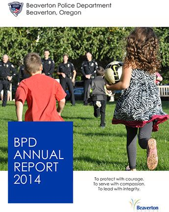 Cover of 2014 BPD Annual Report with children carrying a ball while running toward police officers l Opens in new window