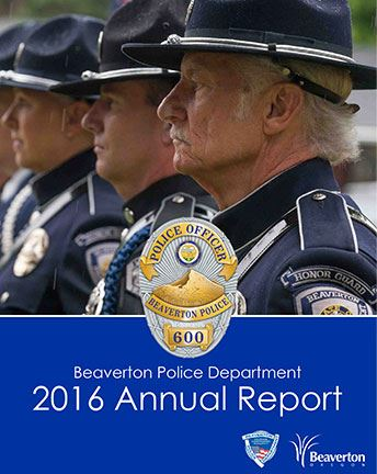 Cover of 2016 BPD Annual Report with row of police officers in dress uniform as link to report. Opens in new window