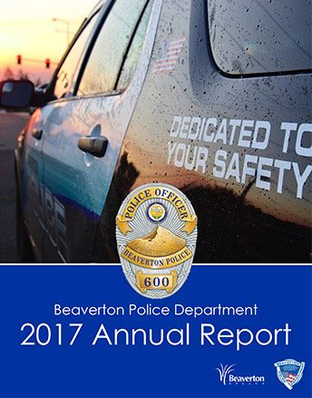 Cover of 2017 BPD Annual Report with police SUV against a setting sun as link to report. Opens in new window