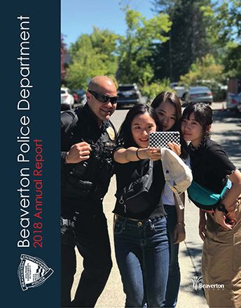 Group of young adults take selfie with sunglasses-wearing BPD Officer graphic link to report. Opens in new window