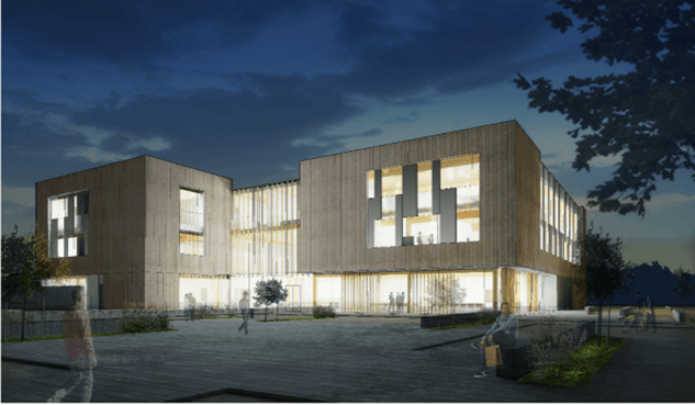 Proposed rendering of Public Safety Center at dusk as viewed from Hall Blvd.