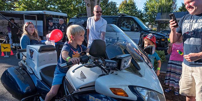 Young boy tests BPD patrol motorcycle