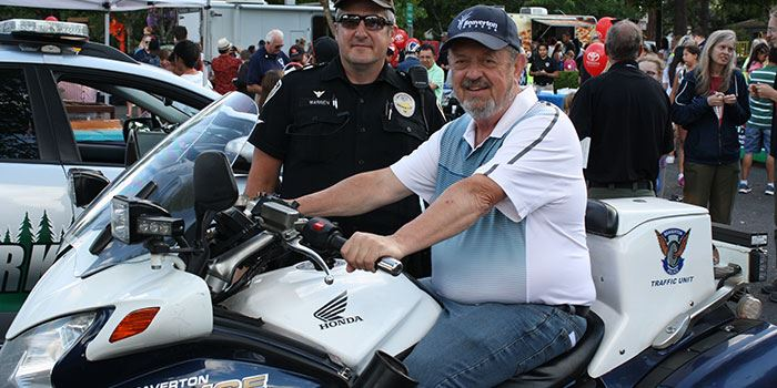 Mayor Denny Doyle tests BPD patrol motorcycle